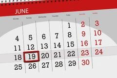 为月排进日程计划者,最后期限星期,星期二, 6月2018 19日 免版税库存图片