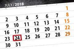 为月排进日程计划者,最后期限星期,星期二, 7月2018 24日 免版税库存照片