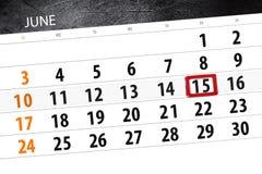 为月排进日程计划者,最后期限星期,星期五, 6月2018 15日 免版税库存照片