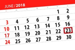 为月排进日程计划者,最后期限星期,星期六, 6月2018 23日 免版税库存照片