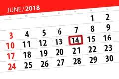 为月排进日程计划者,最后期限星期,星期四, 6月2018 14日 免版税图库摄影