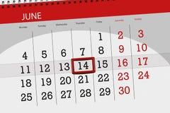 为月排进日程计划者,最后期限星期,星期四, 6月2018 14日 库存图片