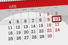 为月排进日程计划者,最后期限星期,星期天, 6月2018 10日 免版税库存图片