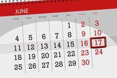 为月排进日程计划者,最后期限星期,星期天, 6月2018 17日 免版税库存图片