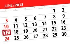 为月排进日程计划者,最后期限星期,星期天, 6月2018 17日 免版税库存照片