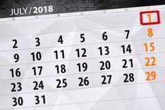 为月排进日程计划者,最后期限星期,星期天, 7月2018 1日 免版税库存照片