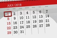 为月排进日程计划者,最后期限星期,星期天, 7月2018 1日 库存图片