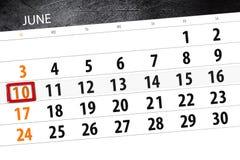 为月排进日程计划者,最后期限星期,星期天, 6月2018 10日 免版税库存照片