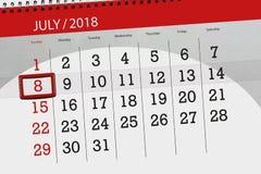 为月排进日程计划者,最后期限星期,星期天, 7月2018 8日 库存图片