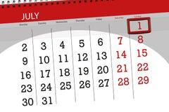 为月排进日程计划者,最后期限星期,星期天, 7月2018 1日 图库摄影