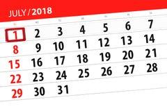 为月排进日程计划者,最后期限星期,星期天, 7月2018 1日 免版税库存图片