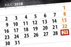 为月排进日程计划者,最后期限星期,星期天, 7月2018 29日 免版税库存照片