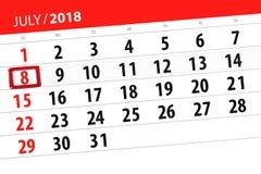 为月排进日程计划者,最后期限星期,星期天, 7月2018 8日 免版税图库摄影