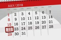 为月排进日程计划者,最后期限星期,星期天, 7月2018 22日 库存照片