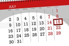 为月排进日程计划者,最后期限星期,星期天, 7月2018 15日 免版税库存照片