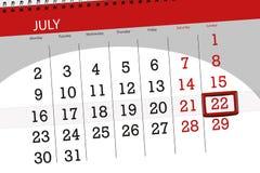 为月排进日程计划者,最后期限星期,星期天, 7月2018 22日 图库摄影