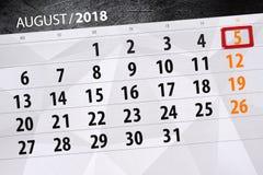 为月排进日程计划者,最后期限星期, 2018威严, 5,星期天 库存照片
