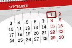 为月排进日程计划者,最后期限星期, 1 9月2018,星期六 免版税库存照片