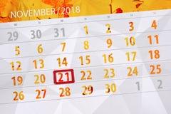 为月排进日程计划者,最后期限星期21 11月2018,星期三 免版税库存图片