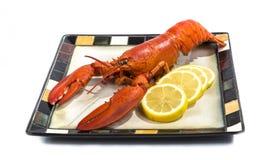 为服务镀的煮熟的龙虾 免版税库存图片