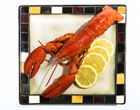 为服务镀的煮熟的龙虾 免版税库存照片
