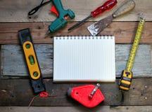 为木匠的工具 免版税库存照片