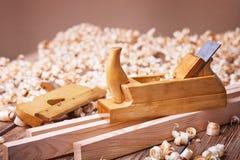 为木材加工的手工具 免版税库存照片
