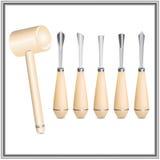 为木雕的工具:凿子,短槌 库存例证