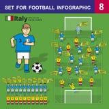 为橄榄球infographics设置 意大利家比赛 免版税库存图片