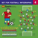 为橄榄球infographics设置 西班牙家比赛 免版税库存照片