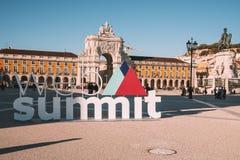 为欧洲` s最大的技术会议签字 库存照片
