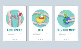为流动应用或网ba设置的慈善和捐赠横幅 向量例证