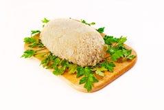 为烤面包的炸肉排在一个航空格栅 免版税库存图片