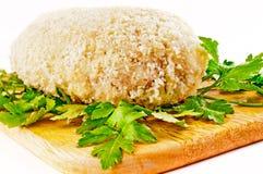 为烤面包的炸肉排在一个航空格栅 库存照片