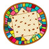 为犹太假日在板材的逾越节导航matzah的例证 Pesach未膨松面制面包和手拉陶瓷风格化 免版税库存图片