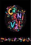 为狂欢节节日设置的明亮的五颜六色的传染媒介装饰 包括手写的在上写字的文本,五彩纸屑,面具,烟花 免版税库存图片