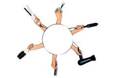 为称呼举行在手上的头发的工具隔绝在白色ba 免版税库存图片