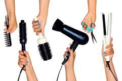 为称呼举行在手上的头发的工具隔绝在白色ba 库存图片