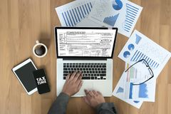 为税务计划金钱财务会计征税Busi计时 库存照片