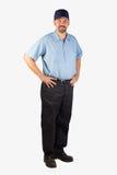 为站立的人服务与在臀部的手 免版税图库摄影