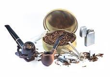 为管子抽烟设置 免版税库存图片