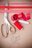 为缝合的工具和手工制造 库存照片