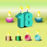 为网传染媒介设置的生日蜡烛 库存照片