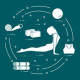 为自关心,按摩的女子瑜伽姿势,竹和各种各样的工具 向量例证