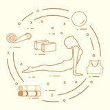 为自关心,按摩的女子瑜伽姿势,竹和各种各样的工具 库存例证