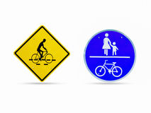 为自行车警报信号,穿过路的孩子签字 免版税库存图片