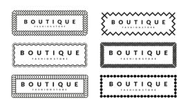 为行家时尚精品店设置的创造性的边界设计模板 免版税库存图片