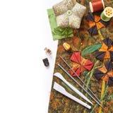 为补花的工具对织品 图库摄影