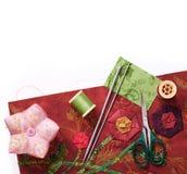 为补花的工具对织品 库存图片