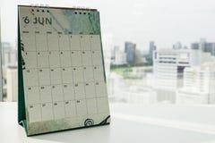 为要做名单、任命和会议提示的6月日历 库存照片
